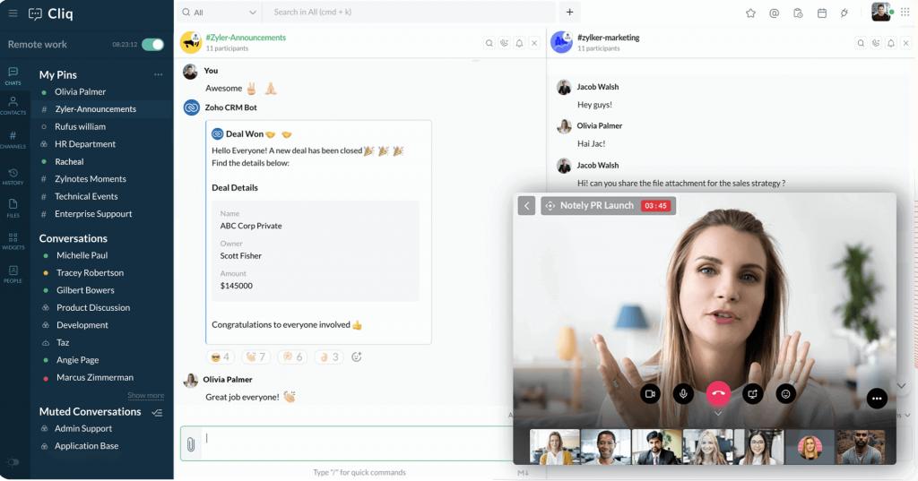 Panel de pantalla principal de Cliq con conversaciones de grupos abiertas y videollamada en curso