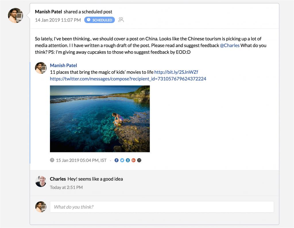 Comentarios en posts redes sociales Zoho Social