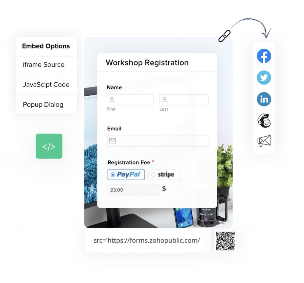 Interfaz para compartir formulario de Zoho Forms